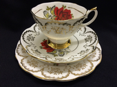 Imperial china Roses tea trio